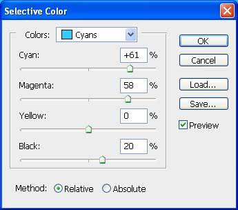 Selective Colors Cyans